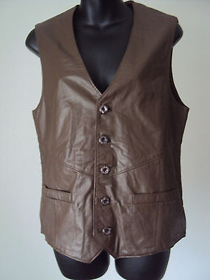 """Vintage 1960's Brown Leather  waistcoat- Knitted back button front ~Mod - S -36"""""""