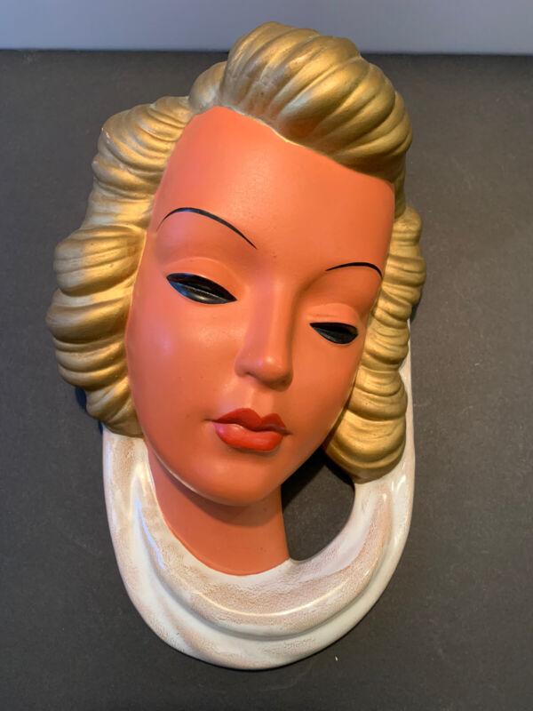 Vintage Goldscheider 544 Wall Mask Art Deco Terracotta W Germany