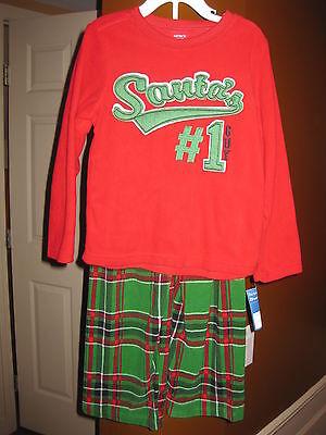 NWT Boys Sleepware Pajamas Red & Green Santa Christmas Fleece Size 5T - Boys Sleepware