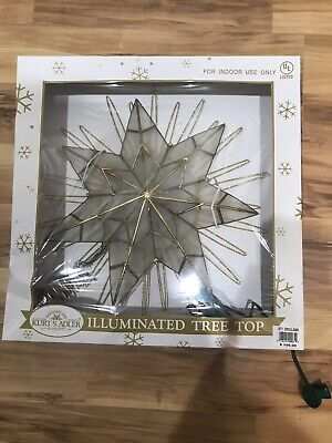 "Kurt Adler 14"" 7-Point Natural Capiz Star Lighted Treetop Christmas New $106"