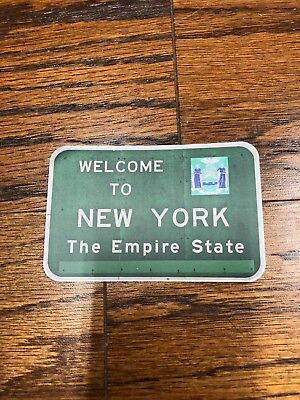 """NEW YORK Welcome to NEW YORK State Sign Vinyl Sticker Decal 4"""" x 2.6"""""""