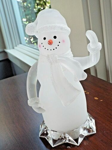 "Frosted Acrylic Snowman ~ Lighted ~ 7-1/4""  x  4-1/2"""