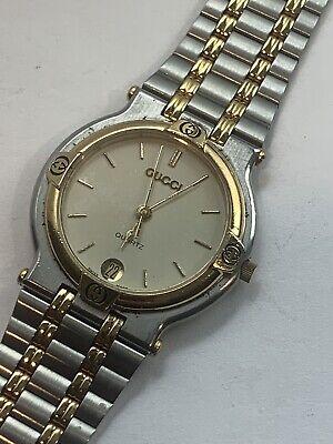GUCCI 9000M Quartz Ladies Swiss Luxury Two Tone Watch Stainless Steel Vintage