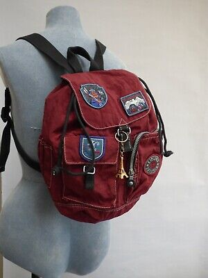 Retro Kipling Private Transport Alpine Monkey Badge Ski Backpack Rucksack Red