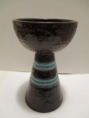 Candlestick Rosenthal Netter Brown Turquoise Blue Mid Century Italy Pottery