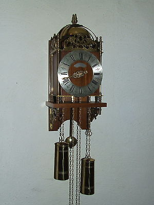 Rare Beautiful Oak Vintage Warmink Dutch Lantern Wall Clock