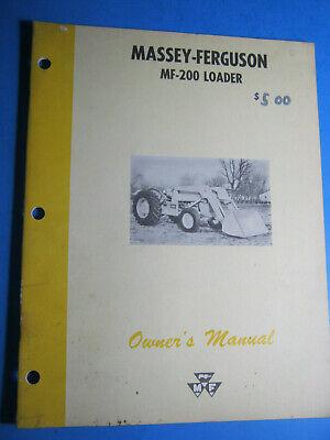 Massey Ferguson Mf 200 Loader 1963 Operators Manual Oem Original
