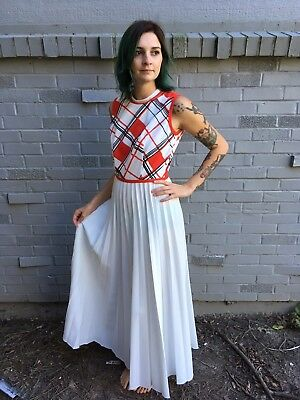 VTG 1960s Sears Fashions polyester Maxi Dress Pleated Mod Retro White