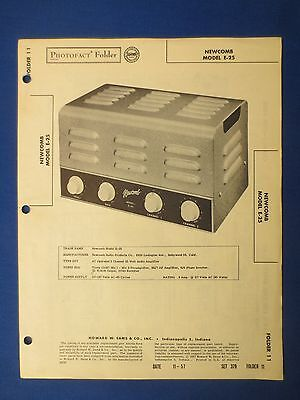NEWCOMB E-25 SERVICE INFO MANUAL WITH SCHEMATIC PARTS LIST SAMS PHOTOFACT