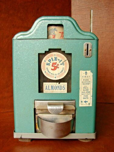 "Working Vintage 5-Cent Counter top ""Spin-It"" Almond Vending Machine"