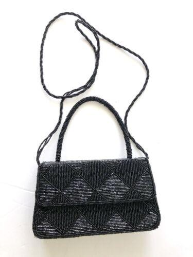 Black Beaded Mini Structured Evening Flap Bag Clutch Top Handle Shoulder Strap