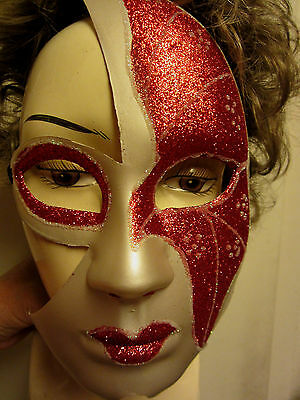 Halloween Phantom of the Opera Masquerade Mask Adult Size Red Glitter White NIP