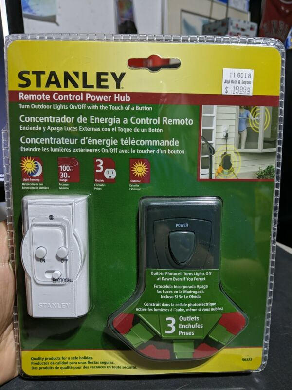 NEW Stanley Remote Control Power Hub Grounded 3 Outlet, Outdoor Use, RT304 56333