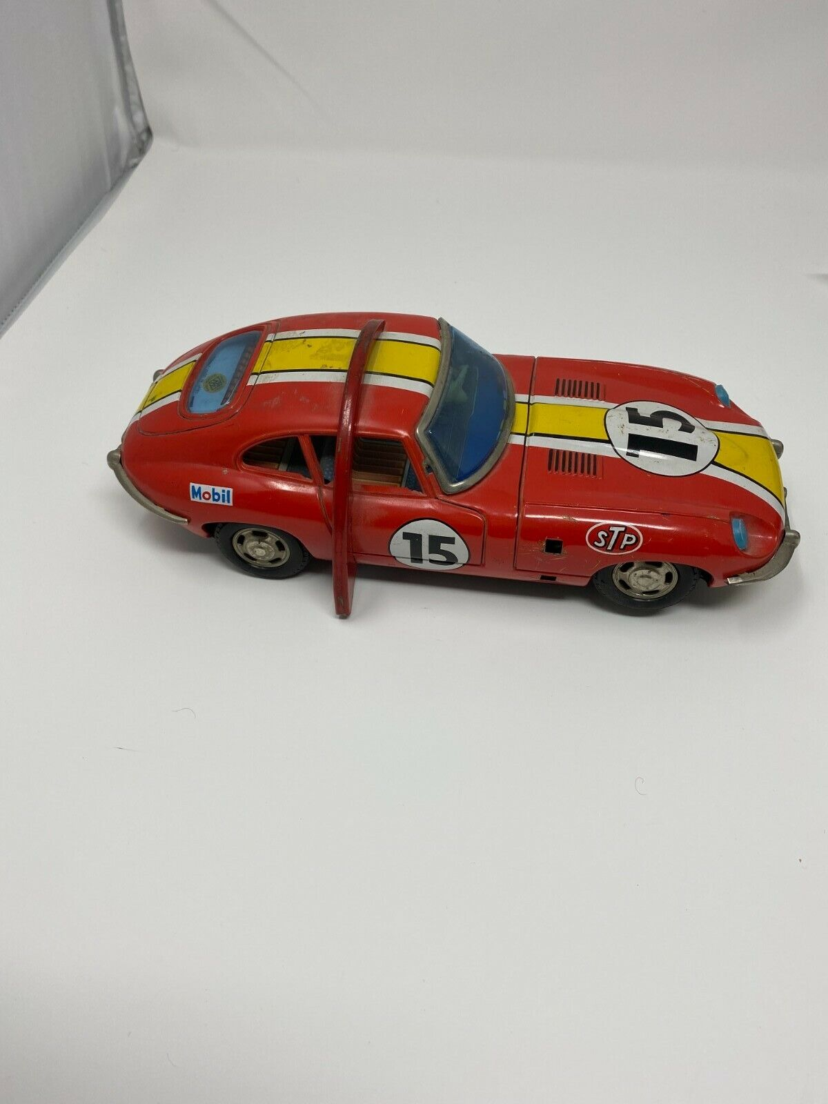 Masudaya Modern Toys Japan Tin Batt Op Jaguar 1968 E-TYPE Roll Over Stunt Car - $40.00