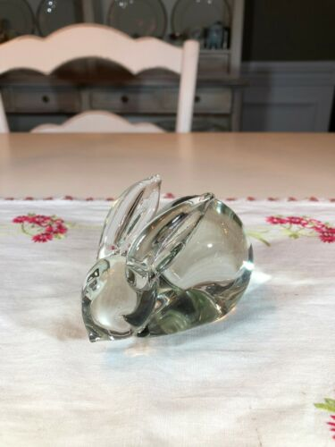 Vintage Clear Art Glass Bunny Rabbit Figurine/Paperweight Solid
