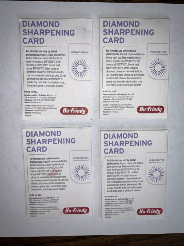 Hu-Friedy Diamond Sharpening Cards (Quantity-2) medium grit DSCMED (x4)