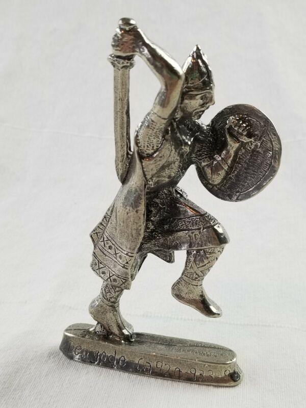 "HAKON DEN GODE PEWTER figure FIGURINE tall 5"" warrior sword rare"