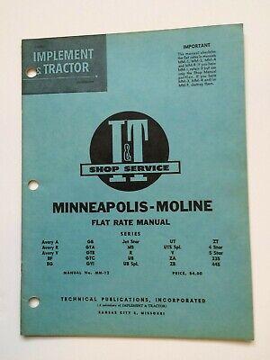 Minneapolis-moline Avery A R V Bf Bg Gb M5 Ub Ut 5 Star 335 445 Tractor Manual