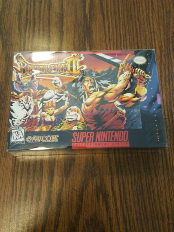 BOX ONLY Breath of Fire II 2 SNES Super Nintendo Nice Condition with protector