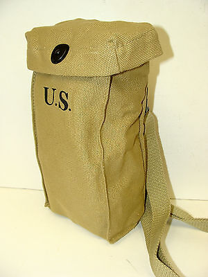 1942 Thompson Smg Khaki Mag Pouch W Shoulder Strap