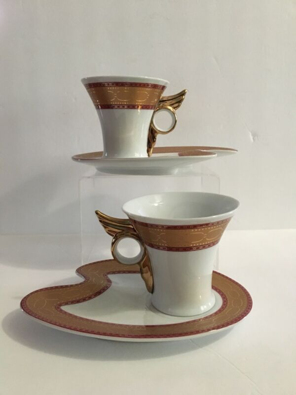 Yamasen Porcelain Gold Collection Japan Set of 2 Tea Cups and Saucers