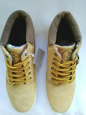 Zara Kids boys US 4.5  EU 37 camel brown leather lace up high top casual shoes