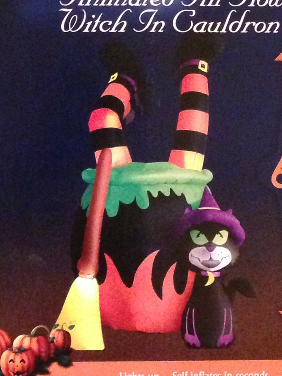 Halloween Led Animated Witch In Cauldron Airblown/inflatable Decor