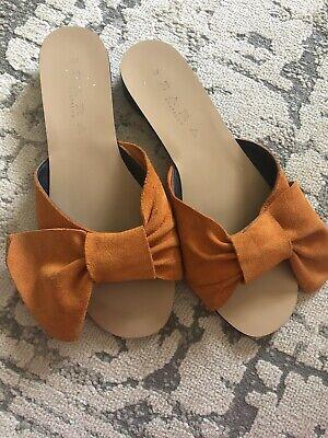 Zara Orange Bow Sandals Size 37