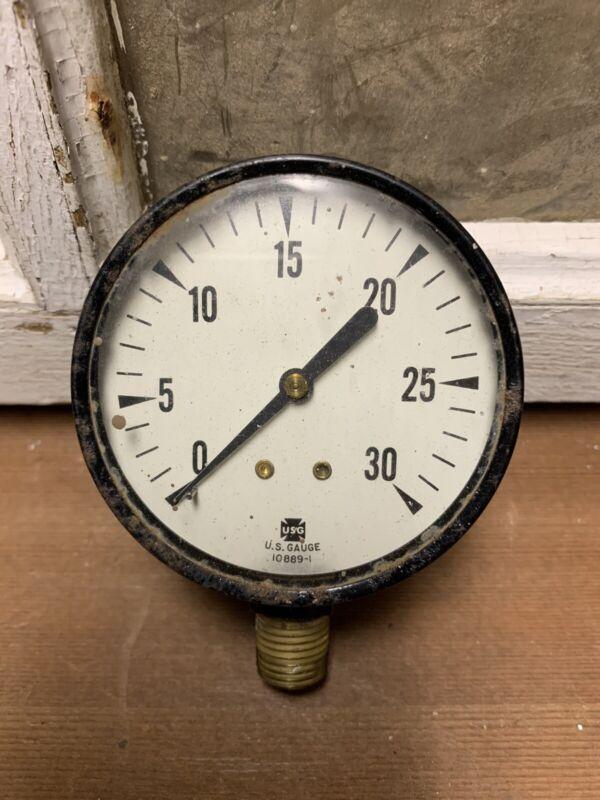 Vintage US Gauge Glass Face Pressure Industrial Decor Hardware 10889-1