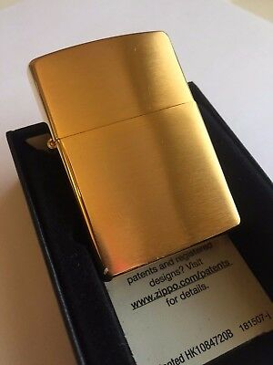 24k Gold Plated Genuine Zippo Lighter Classic Gift 24ct USA MADE Brushed - 24kt Gold Plated Brass