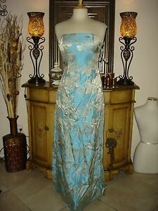 Gold & Teal Jessica McClintock Formal Evening Homecoming Prom Gown Dress Cheap 8