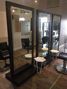 Freestanding two sided salon mirrors