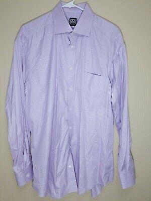 Ike Behar Mens Long Sleeve Button Up Shirt Plaid Lite Purple Size 16.5 - 34/35