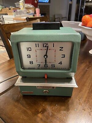 Vintage Green Analog Punch Time Clock Acroprint No Keys Read Fast Shipping