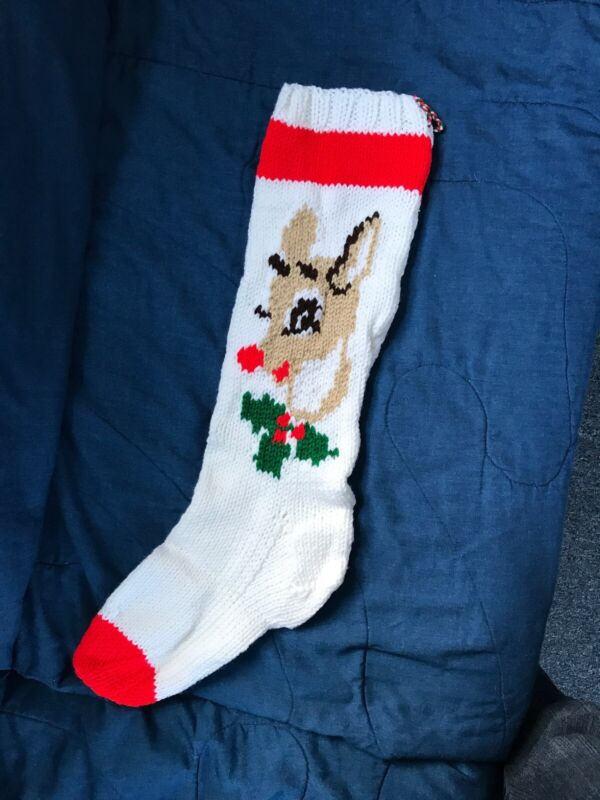 Hand Knit Christmas Stocking Rudolph Reindeer