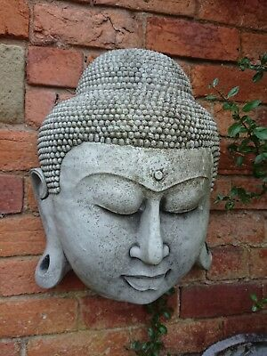 STONE GARDEN LARGE AGED BUDDHA HEAD FACE WALL PLAQUE ORNAMENT