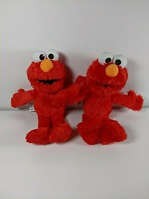 "Two Sesame Street Elmo Plush Stuffed Animal 9"" Red Doll Soft Kids Toy Hasbro"