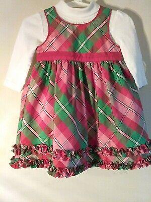 Oshkosh Baby Gril 12M Dress Holiday Christmas Red Plaid Dress with body shirt