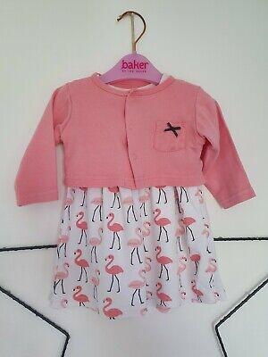 Hudson Baby Girls Pink Flamingo Dress Cardigan & Shoes Set 3-6 Months