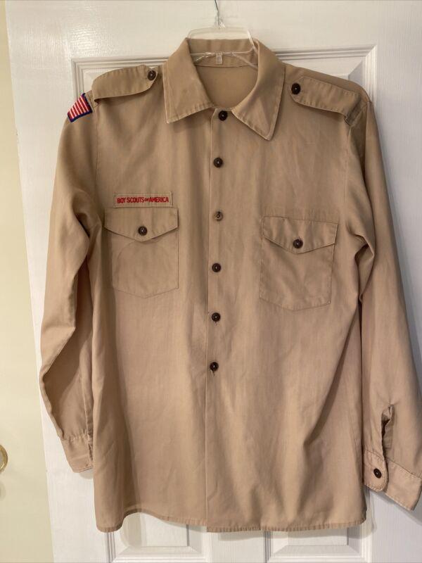 Boy Scout BSA UNIFORM SHIRT Mens Medium Long Sleeve Tan I23
