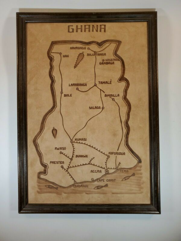 "Vintage Framed Handmade Leather Map Of Ghana 18.25"" X 12.75"""