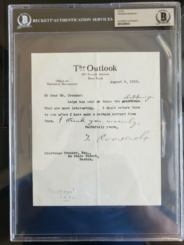 THEODORE ROOSEVELT PRESIDENT SIGNED AUTOGRAPH TLS BECKETT BAS AUTHENTIC!