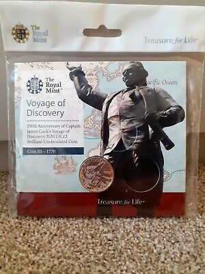 2020 Captain James Cook brilliant uncirculated £2 in sealed royal mint pack
