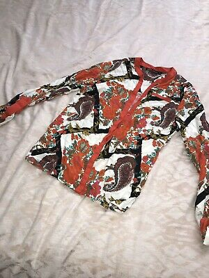 Versace Inspired Pattern Shirt Ladies Top From Next Size 12 Summer Bright Colour