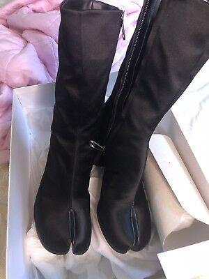 MAISON MARTIN MARGIELA split toe Black satin tabi boots 37/ US 7 for sale  New York