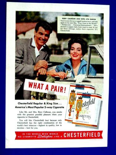 Rory Calhoun & Lita Baron 1955 Chesterfield Original One Page Print Ad 8.5 x 11