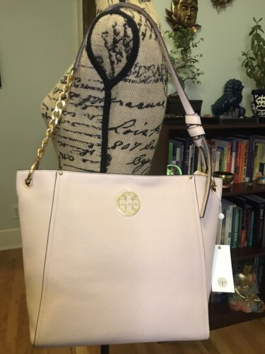 TORY BURCH Everly Leather Hobo Shoulder Bag Shell Pink AUTHENTIC
