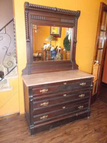 Victorian Eastlake  Dresser with Marble Top & Mirror 1800