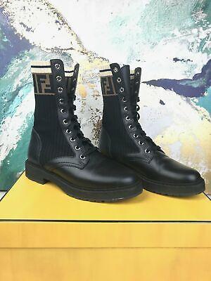 FENDI Rockoko Combat Sock Ankle Boots Zucca Knit Sz 36 Women's Shoes Black EUC