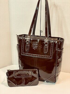 Coach Mahogany Perforated Trim Patent Gallery Tote Purse with Wristlet F11519